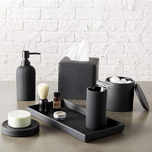 Luxury Matte Black Home Bathroom Decorations Resin Bathroom Accessories Set
