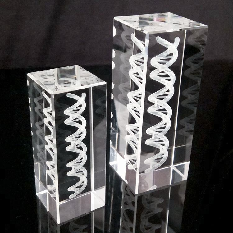 HBL Custom made DNA 3d laser engraving crystal, 3d laser crystal cube gifts