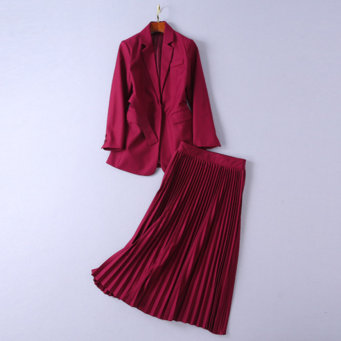 Formal Office Wine Suit Coat Pleated Skirt New Spring Occident Women Suits