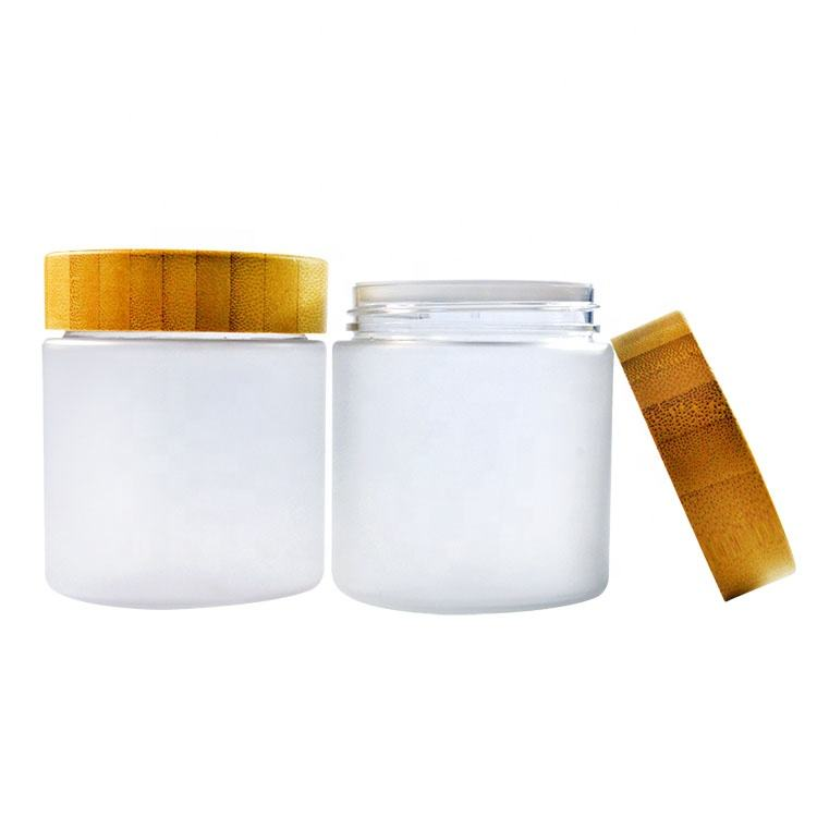 150ml 250g 250ml 8oz 500ml frosted clear PET plastic cosmetic wax container cream jar with bamboo wooden lids