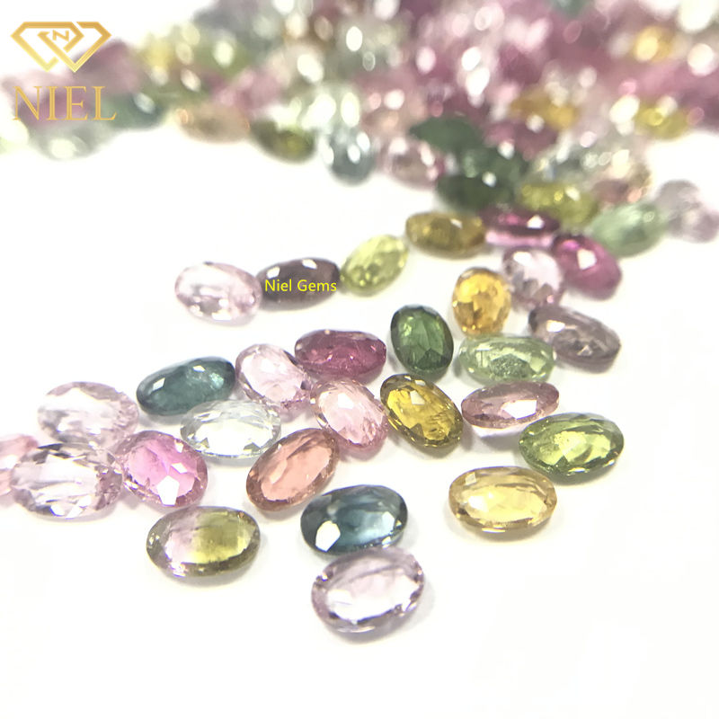Oval cut natural pink blue green tourmaline rough gemstone prices per carat