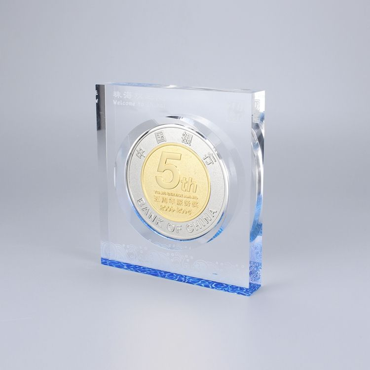 Acrylic Paperweight Awards Transparent Blue Acrylic