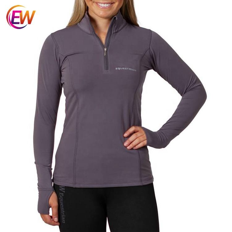 High Quality Ladies Equestrian Tops Horse Racing Riding Long Sleeve Polo Shirt