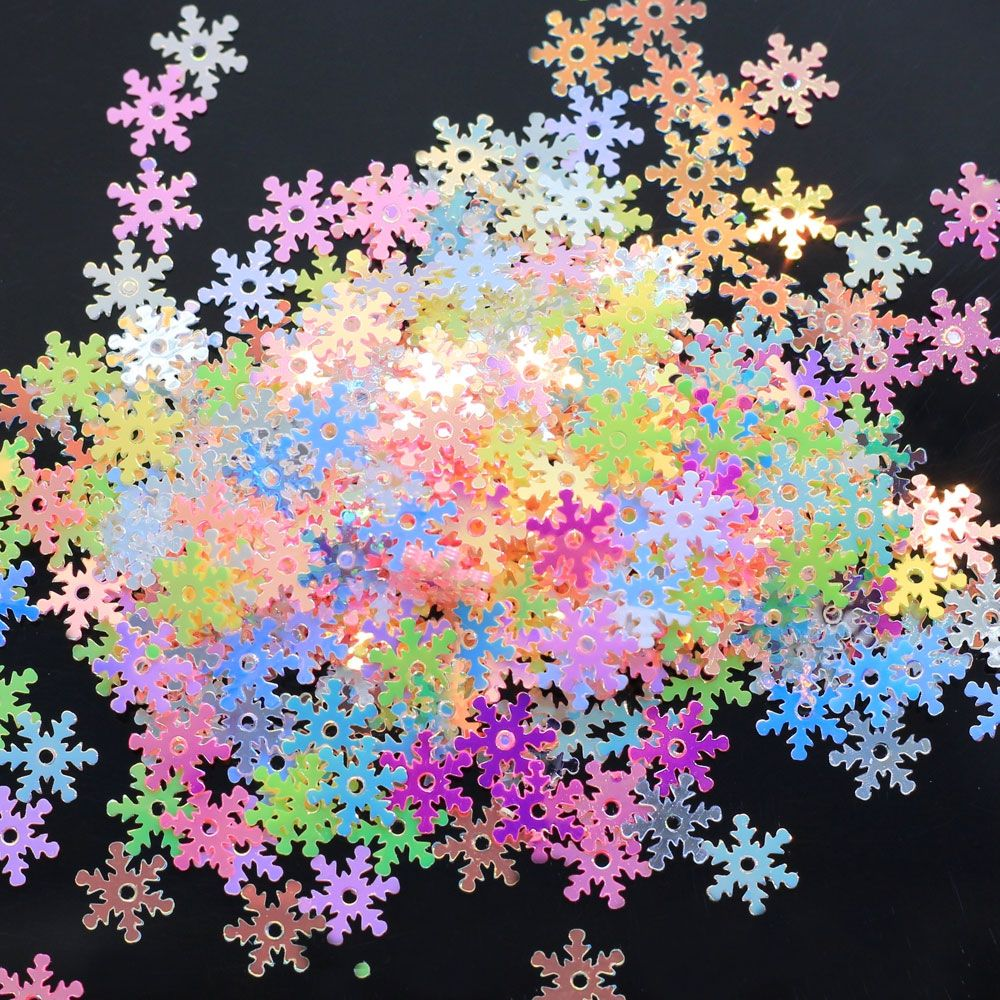 7mm Colorful Snowflake Shape Transparent Loose Sequins Crafts Glitter Paillettes For Wholesale Sewing Xmas Decoration