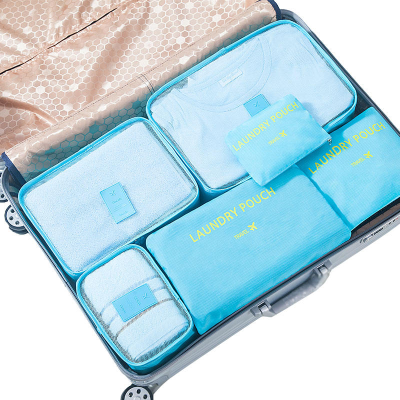 Hot sale 6pcs set Waterproof Packing Cubes Sorting Laundry Pouch Portable Travel Bag