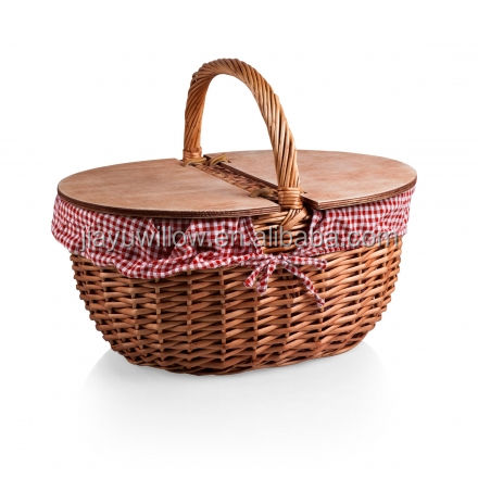 natural willow basket with wooden lid One removable cotton/poly basket liner