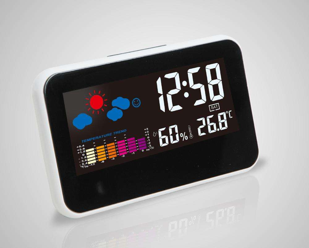 Indoor Outdoor Weather Station Kalender Meja Jam Alarm, Tampilan LCD Warna Weather Station Clock dengan Tunda