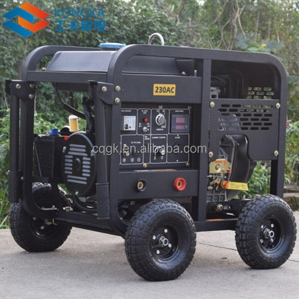 factory price AC single phase air cooled 15hp 230A diesel welder generator set