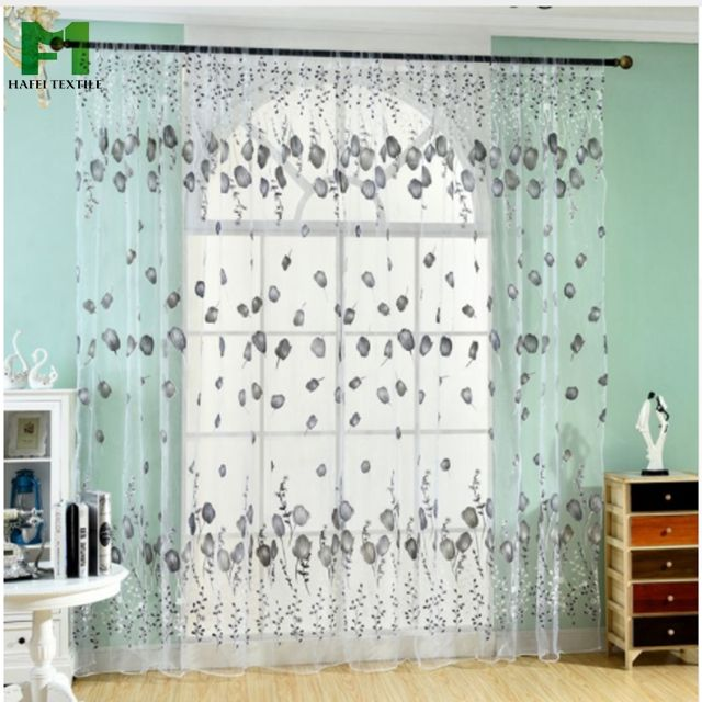 HAFEI Window Curtains Sheer Voile Tulle for Bedroom Living Room Balcony Floral Printed Curtain