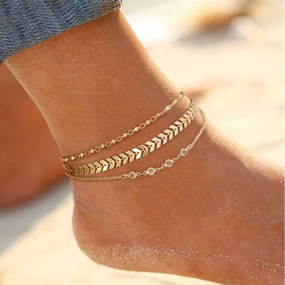 Fashion Multi-Layer New Design Anklet Feet Silver Chains 18k gold Gold Chains Anklet Foot Jewelry Charm Gifts Women