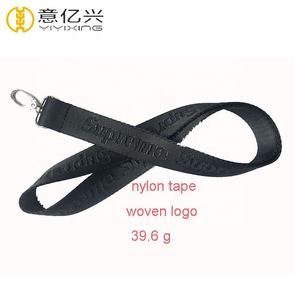 Superior Quality Black Nylon Ribbon Custom Debossed Lanyard