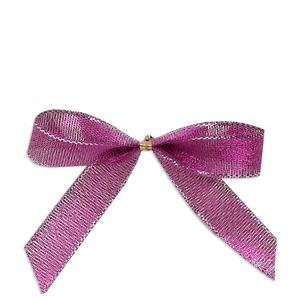 Customize pre-tied tiny metallic ribbon bow boxes with ribbon lurex stretch bow