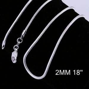 New Simple Design 925 Silver Chain Necklace Italian Silver Chains Snake Necklace