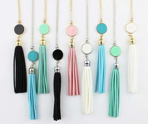 Zooying Personalized Initial Monogram Blanks Acrylic Disc Velvet Tassel Long Chain Pendant Necklaces