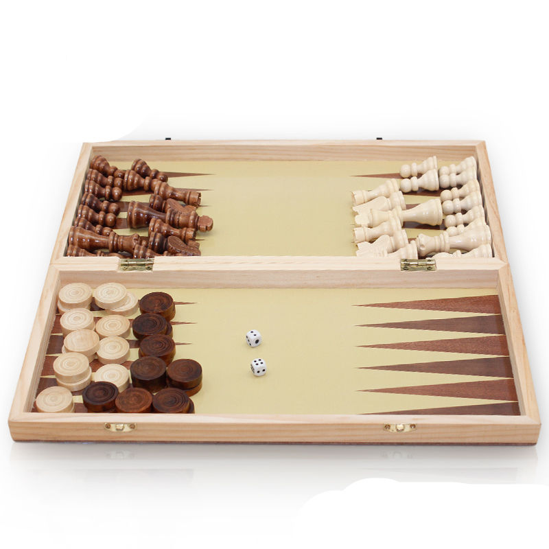 High Quality Classic Folding Wooden Chess backgammon game Set