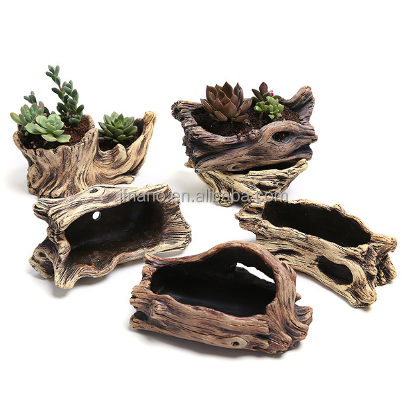 Cement tree root flower pot decoration mini succulent flower pot