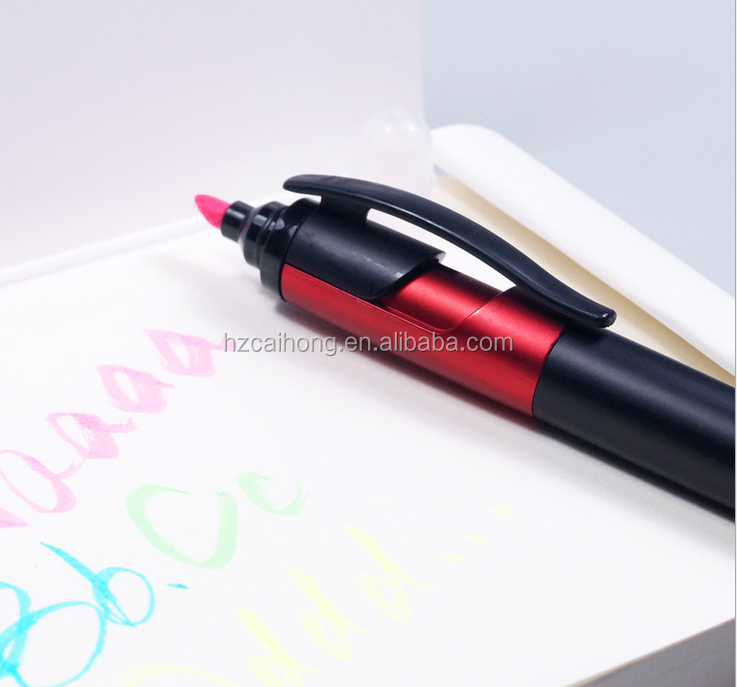 two tips marker pen with stylus touch screen tip CH-6431muti function highlighter stylus ball pen