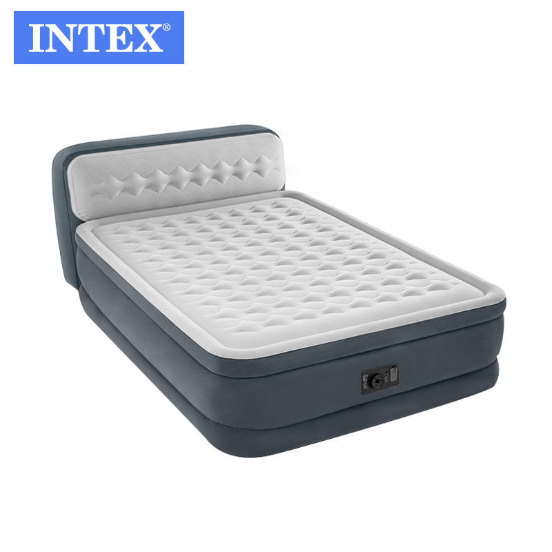 Intex 64448 queen size dura-beam inflatable air mattress with headboard and built in pump inflatable air bed