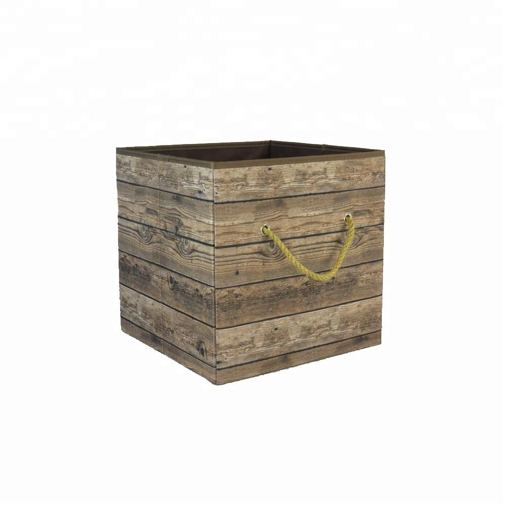 Wood Grain Cube Opening Storage Clothes Box