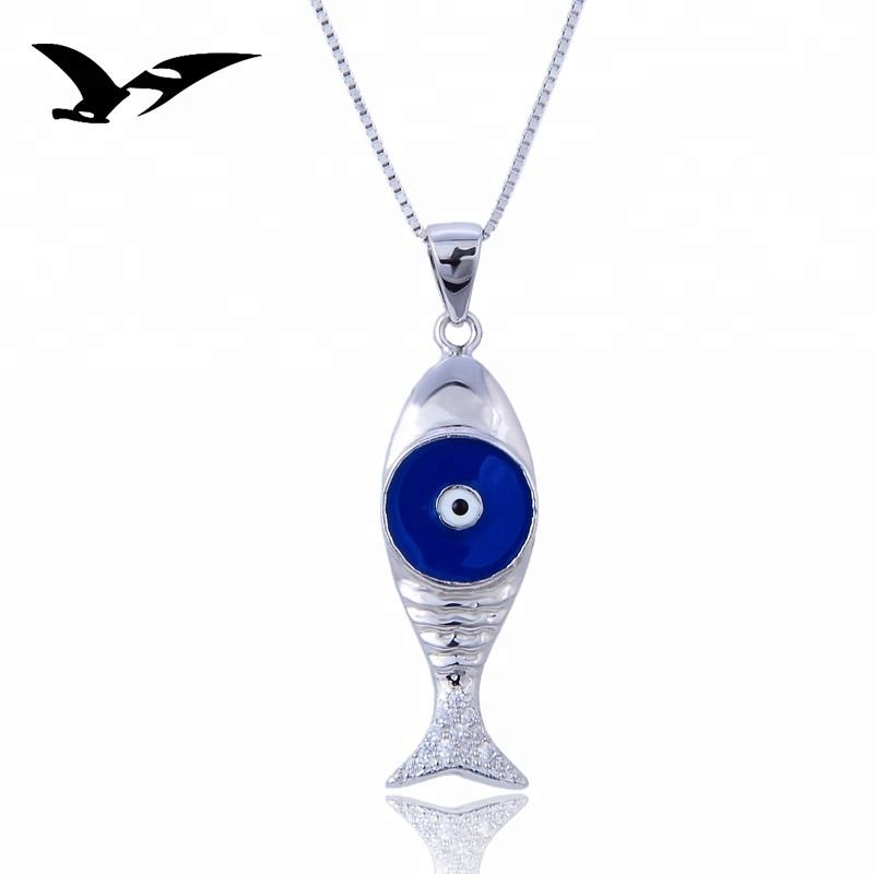 distinctive design fish shape enamel silver jewelry pendant
