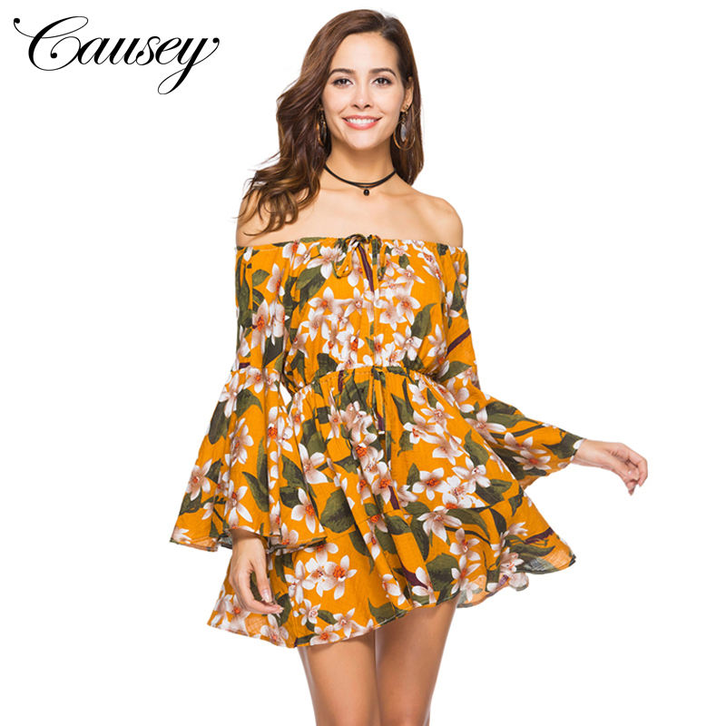 Newest Type Summer Strapless Sexy Beach Clothes Off The Shoulder Mini Women Casual Print Dresses