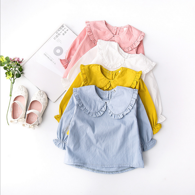S50416A Newest Girls 면 T-shirt Solid Color Little Girls 탑 캐주얼 Simple Shirt