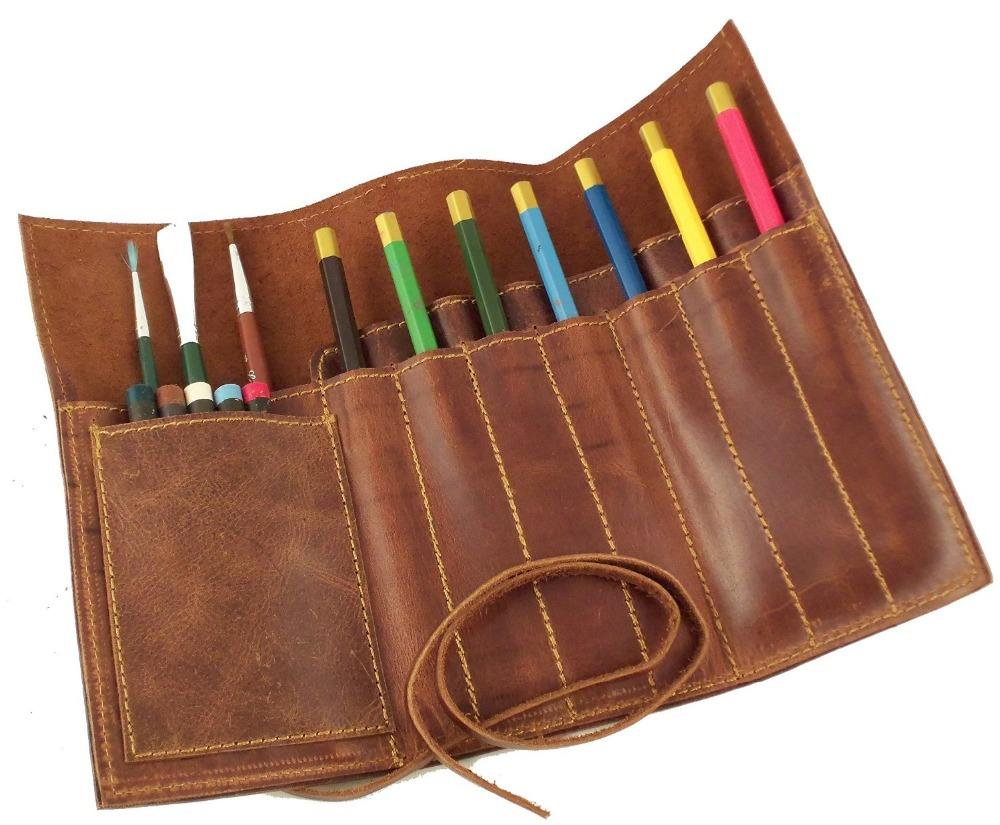 Teal Faux Suede Pouch Roll Canvas Pencil Wrap Makeup Brushes Roll