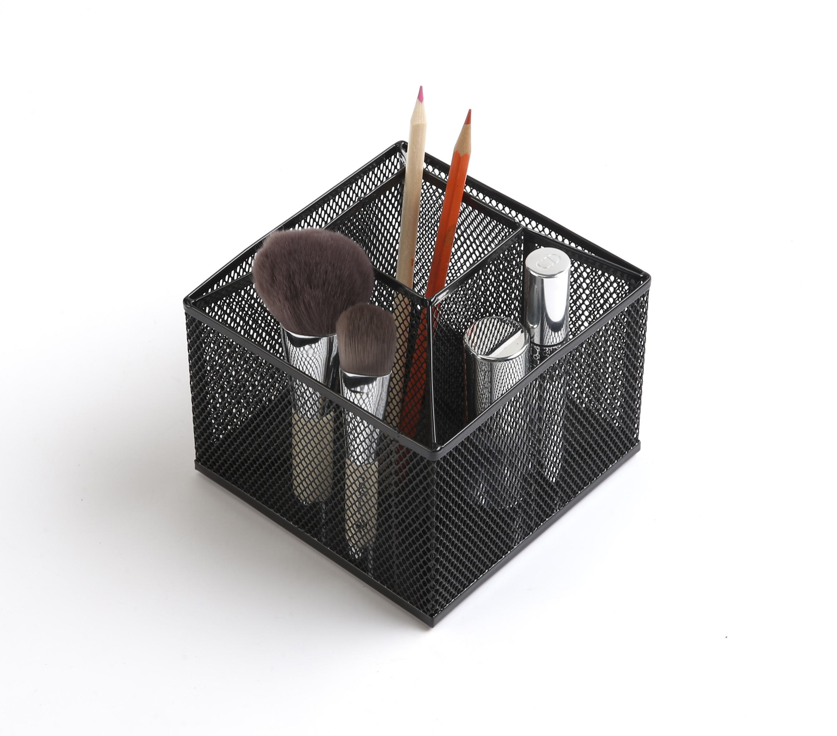 New Arrival Rotating Metal Mesh 5-Compartment Desk Organizer Office Supplies