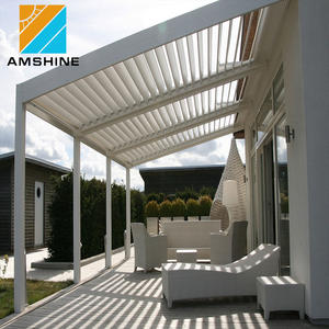 Waterproof Louver Roof System Outdoor Garden Electric Flat Gazebo Adjustable Pergola Canopy Patio Roof
