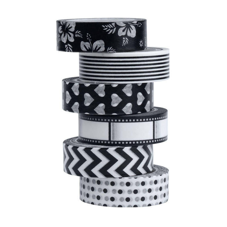 Black Washi Tapes Set Creative Scrapbooking Craft Masking Tape forDIY home decor