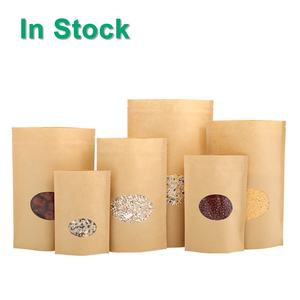 Stand Up Brown Kraft Paper Reclosable Zip Lock Heat Sealable Food Packing Pouches With Oval Window