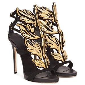 Gold Leaves European American Fashion Sandals Elegant Woman Party Night Club Ladies Extreme High Heels Shoes