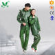 green work rain suit adjusting rope big pockets rubber raincoat with flap in front