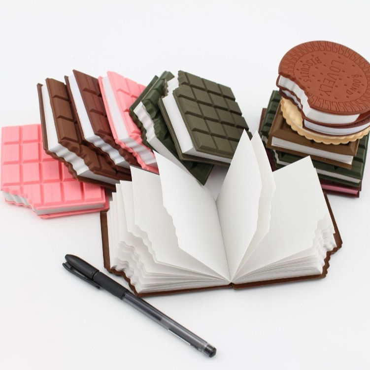 Custom PVC 2D Biscuit Shape Memo Paper Pad Novelty Chocolate Shape Note Pad