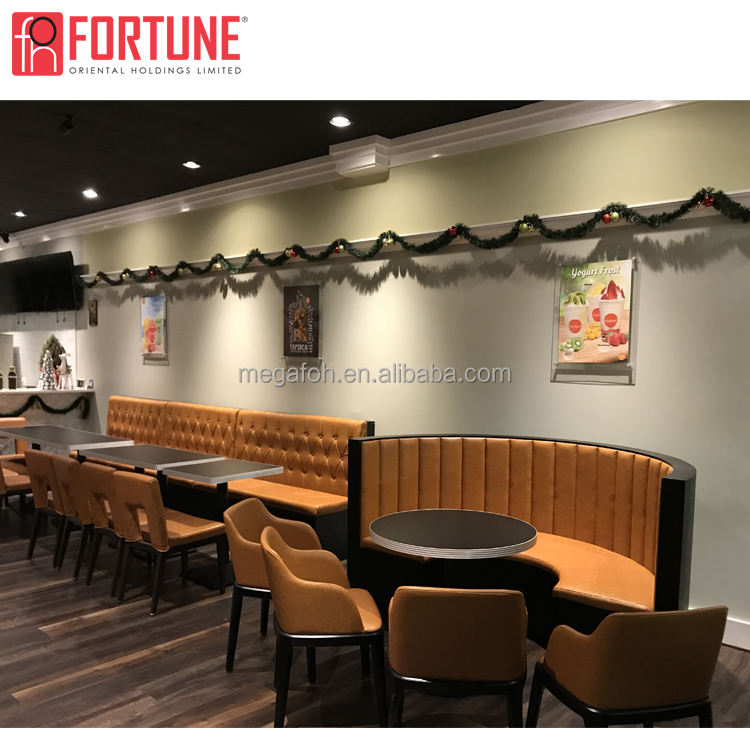 Full solution restaurant furniture tailored round restaurant sofa with table chair