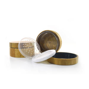 Whole Bamboo Packaging Container 30g 30ml Bamboo Loose Powder Jar with Sifter and Pad