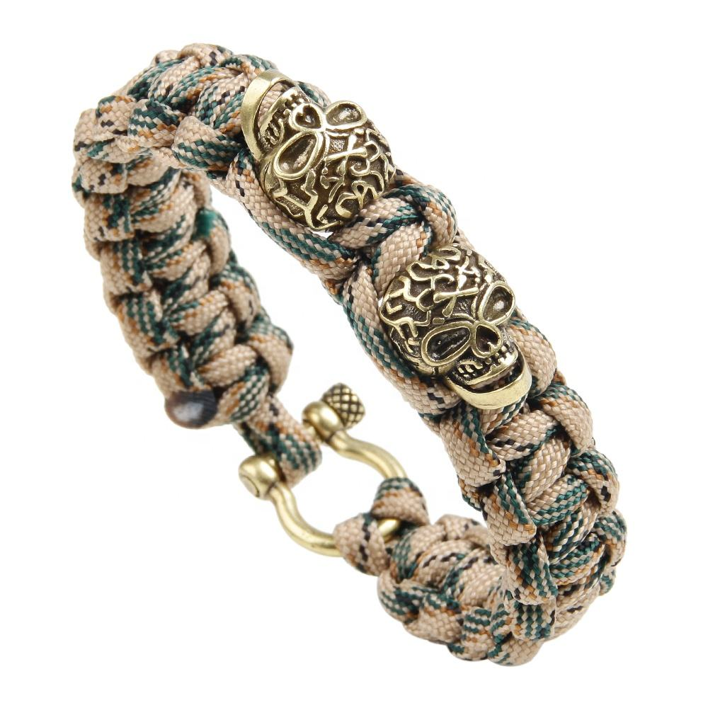 Copper Skull Head Charm Camouflage Nylon Paracord Sporter Field Survival Bracelet with screw clasp