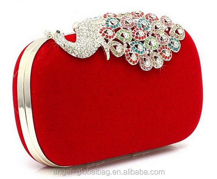 fashion latest design colorful diamond peacock hand bag evening clutch bag