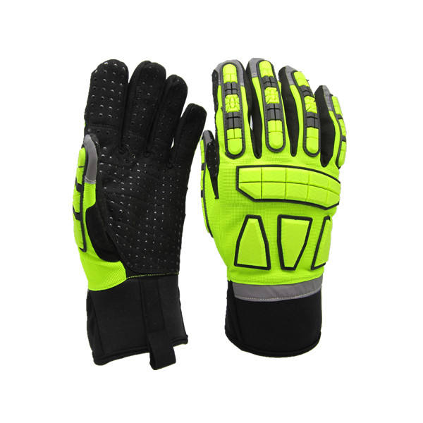 Custom high visibility heavy duty impact resistant gloves