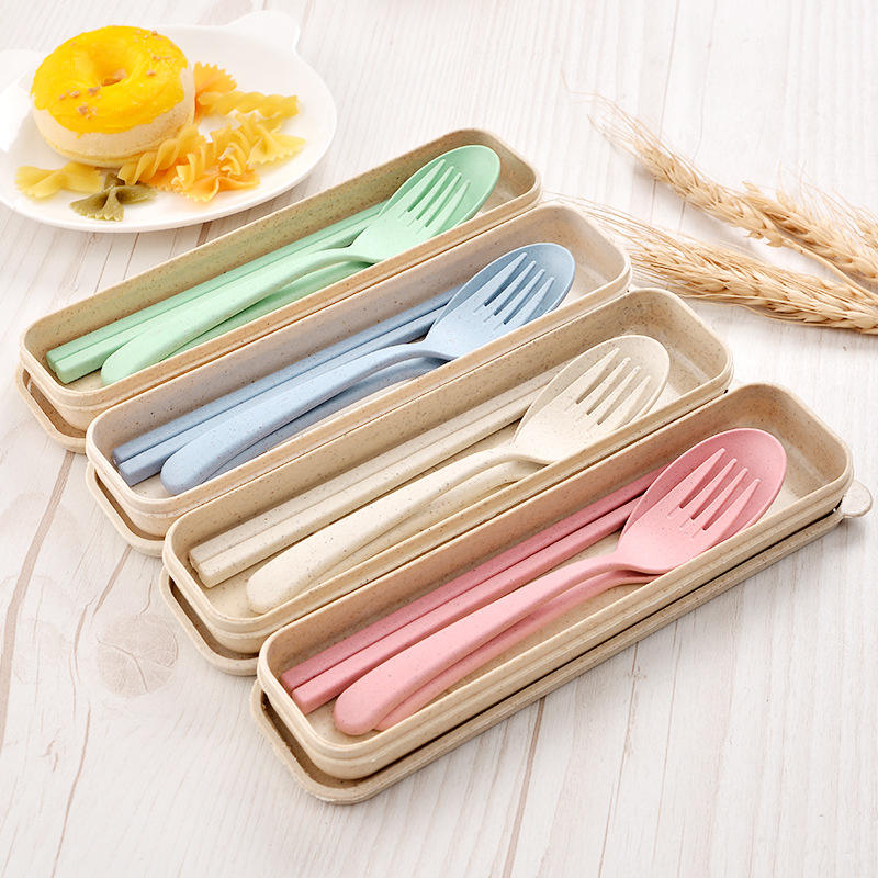 Plastic spoon fork chopsticks Wheat Straw Reusable Camping Biodegradable plastic cutlery