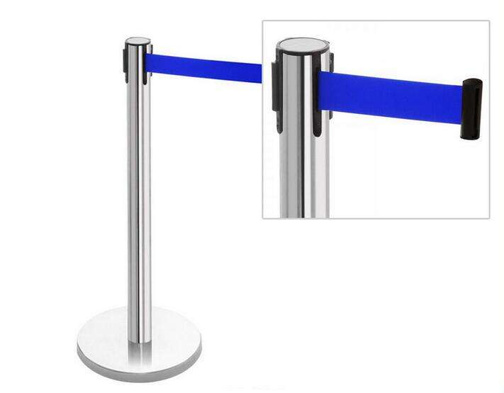 Retractable Belt Barrier Polished Stainless Steel Post crowd control stanchion for sale