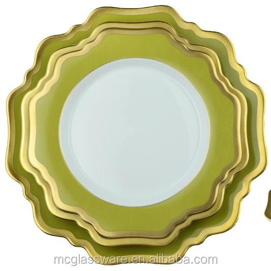 Doğal Çayır Yeşil corelle porselen Türk düğün için toplu yemek takımları