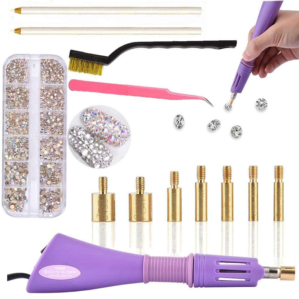 DIY Hot Fix Rhinestone Applicator Wand Setter Tool Kit met 7 Verschillende Maten Tips Hotfix Applicator Gereedschap