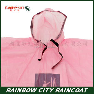 pink color pleasure ground one time use raincoat   disposable raincoat   plastic raincoats pink