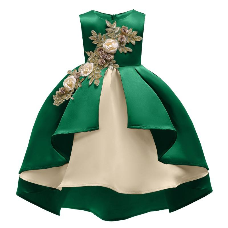 YSMARKET Green Champagne Wine Red New Year Christmas Clothes Flower Girl Tutu Dress Kids Sleeveless Children Princess Dresses