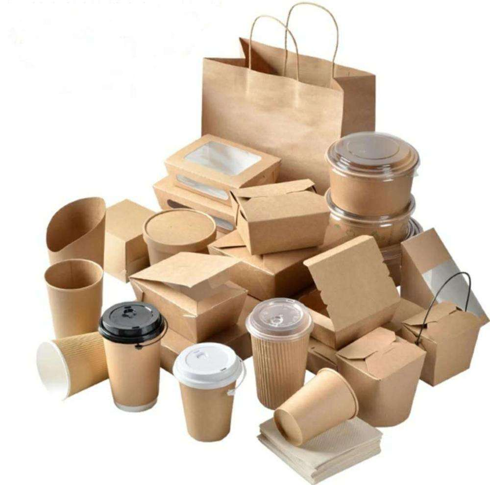 Kraft paper take away food packaging lunch box with transparent lids