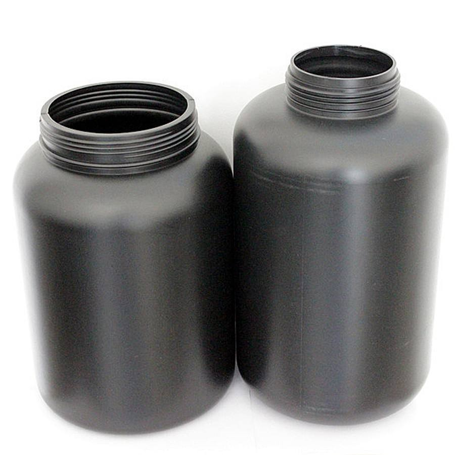 HDPE round black or white 480ml-6000ml plastic bottle for whey protein powder container