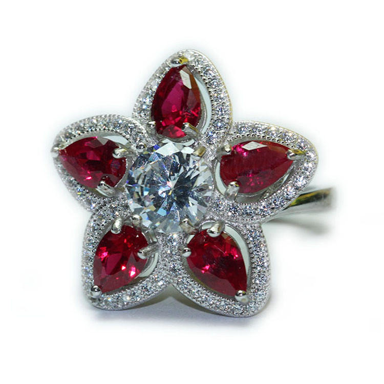 azhuang Cubic Zirconia Crystal Pave Rose Flower Zircon Cz Brooches for Women in White Gold or Gold Colors