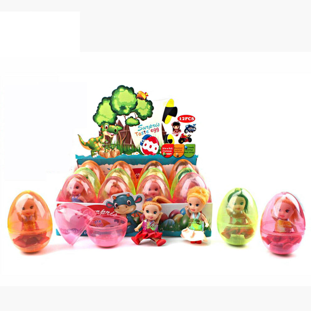 Funny plastic surprise egg toy with cute doll toy inside