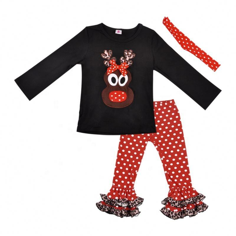 Christmas black long sleeve reindeer red polka dot ruffle pants boutique clothing